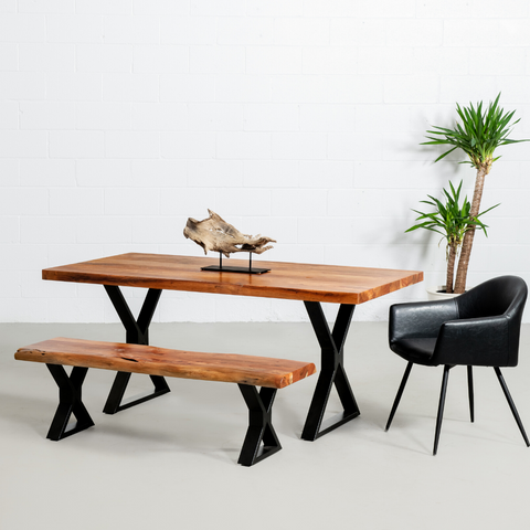 Straight Cut Acacia Dining Table With Black X-Shaped Legs/Natural Color