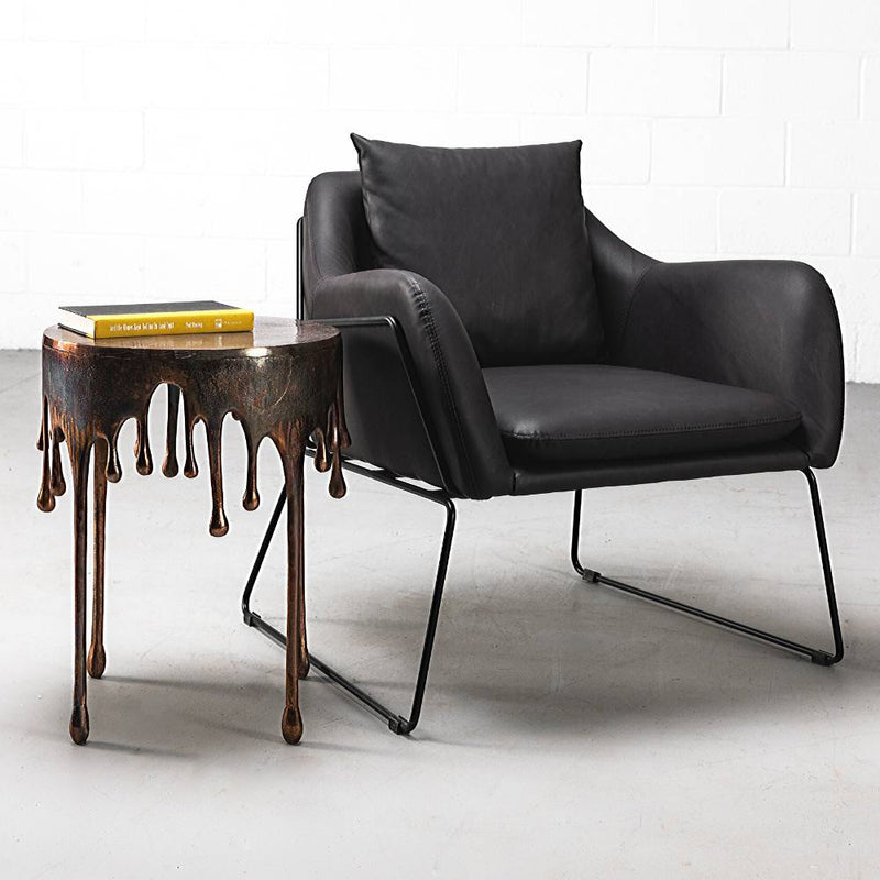 BROOK - Black Leather Lounge Chair