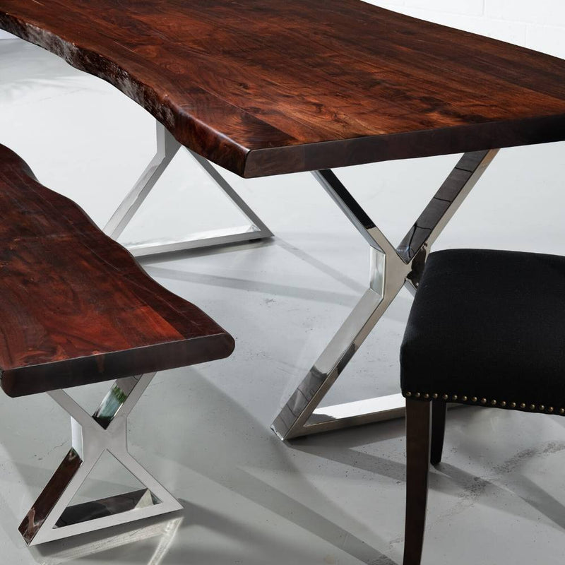 Live Edge Acacia Dining Table With Chrome X Legs/Honey Walnut - Wazo Furniture