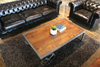 TUCSON - Vintage Industrial Modern Mango Wood Coffee Table With Iron Wheels