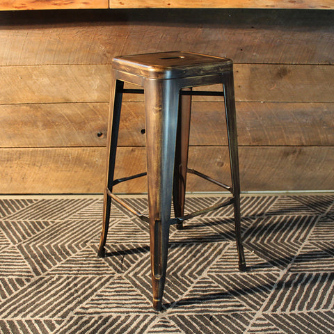 All Metal Tolix Bar Stool - Distressed Copper - Wazo Furniture