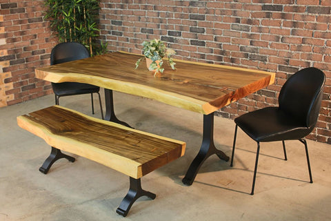 Live Edge Suar Table with Black Y Shaped Legs/Natural Finish - Wazo Furniture