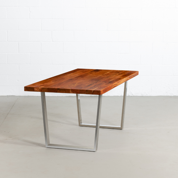 Straight Cut Acacia Wood Table with Chrome U Legs/Natural Colour - Wazo Furniture