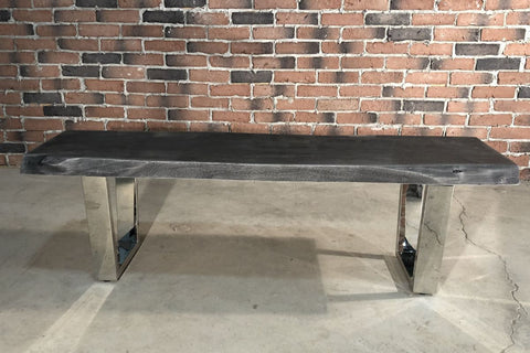 Acacia Live Edge Bench with Chrome U Shaped Legs/Grey Color - Wazo Furniture