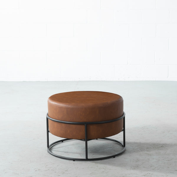 CAMERON - Brown Leather Ottoman
