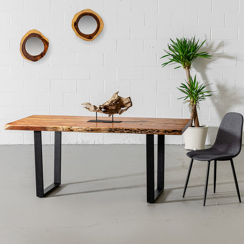 Acacia Natural Wood Live Edge Table with Black U-Shaped Legs/Natural Color