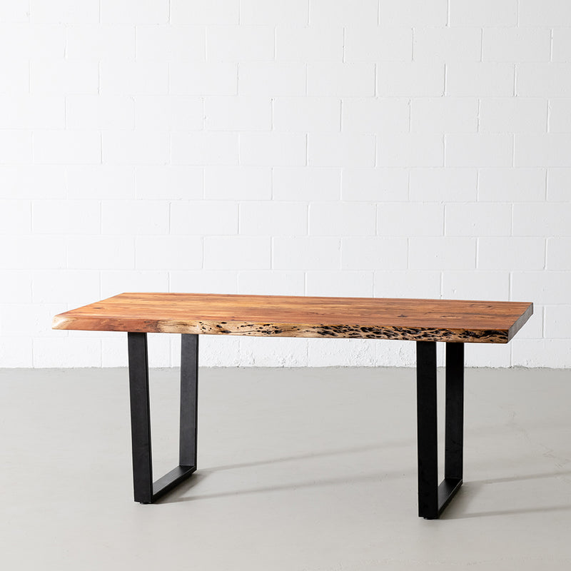 Acacia Natural Wood Live Edge Table with Black U-Shaped Legs/Natural Color - Wazo Furniture