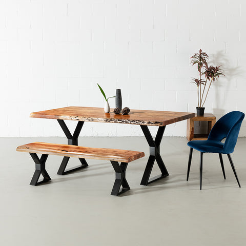 Acacia Live Edge Dining Table with Black X Shaped Legs/Natural Color