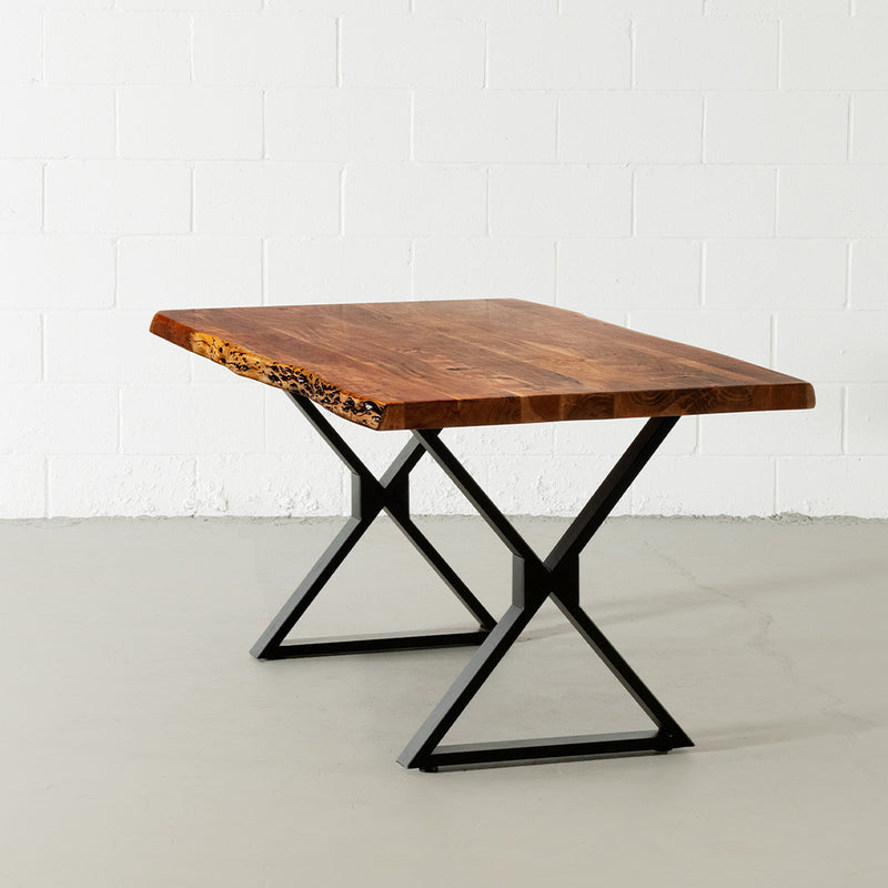 Acacia Live Edge Dining Table with Black X Shaped Legs/Natural Color - Wazo Furniture