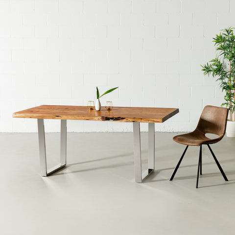 Acacia Live Edge Wood Table with Chrome U Legs/Natural Color