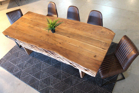 Acacia Live Edge Table with Wooden Plank Legs/Natural Color