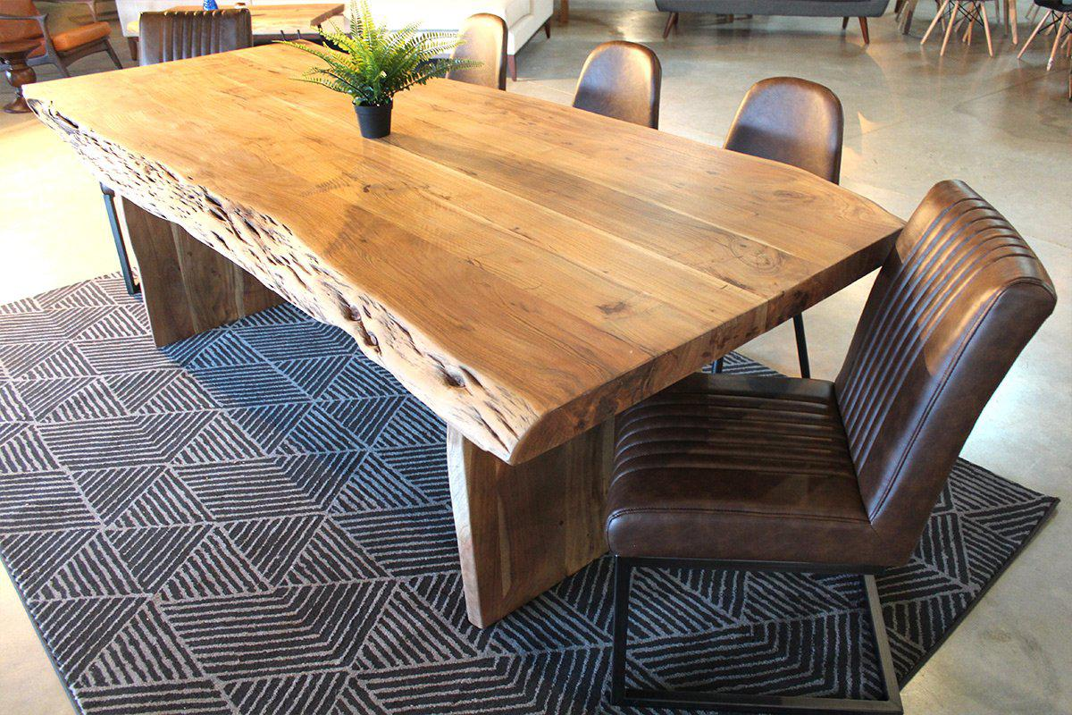 Acacia Live Edge Table With Wooden Plank Legs/Natural Color   Wazo Furniture