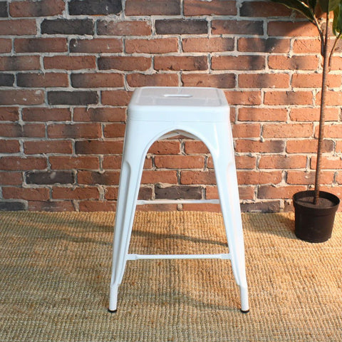 All Metal Tolix Bar Stool - White - Wazo Furniture