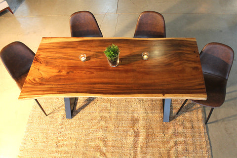 Ava Live Edge Suar Table with X Shaped Legs - Wazo Furniture
