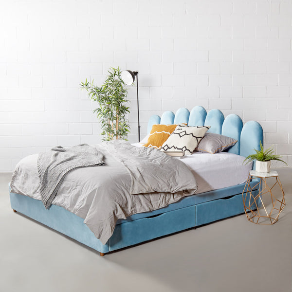 MACY - Blue Velvet Bed with Storage - King Size