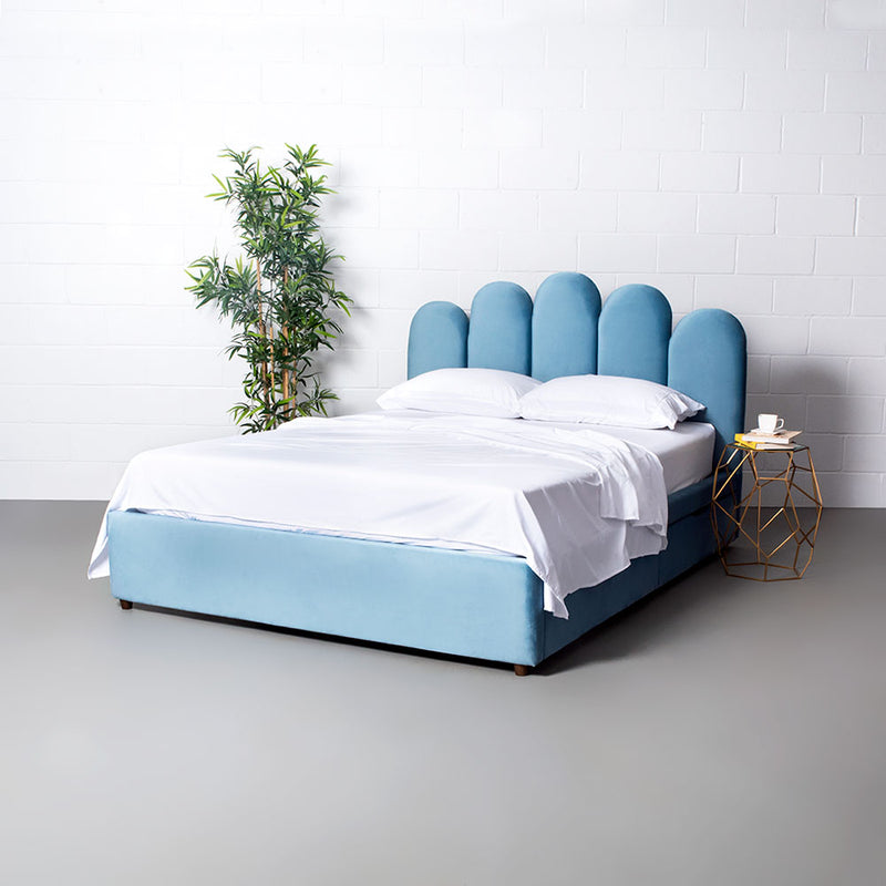 MACY - Blue Velvet Bed with Storage - Queen Size