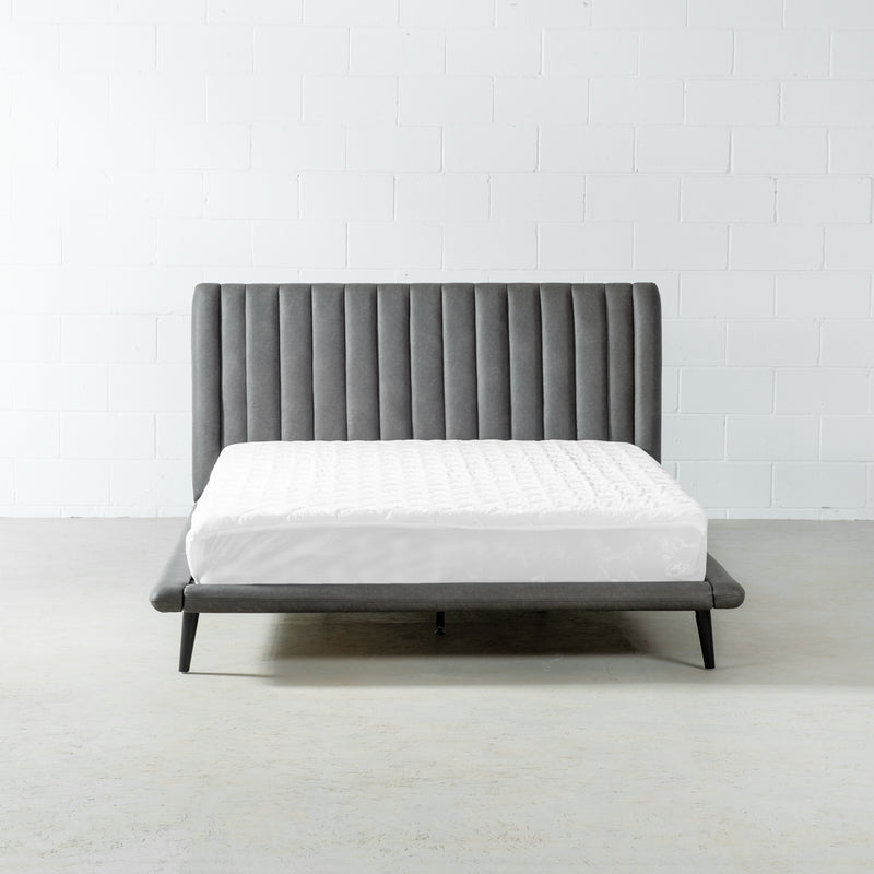 LINA - Grey Leather Bed