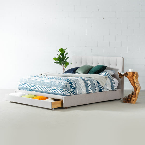 KUDROW - Grey Fabric Bed with Storage