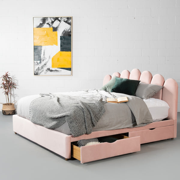 MACY - Pink Velvet Bed with Storage- King Size