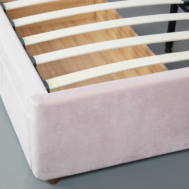 MACY - Pink Velvet Bed with Storage- Queen Size