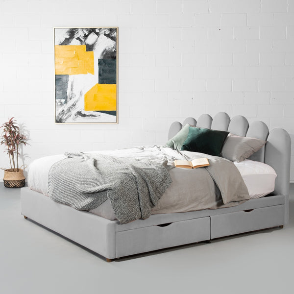 MACY - Grey Velvet Bed with Storage - King Size