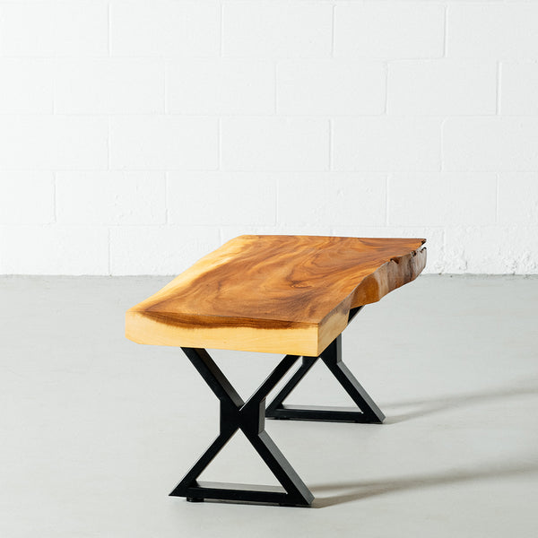 Suar Live Edge Wood Bench with Black X-shaped Legs/Natural - Wazo Furniture