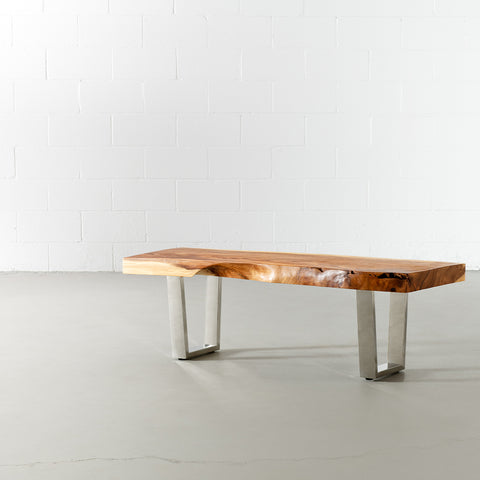Suar Live Edge Wood Bench with Chrome U-shaped Legs/Natural