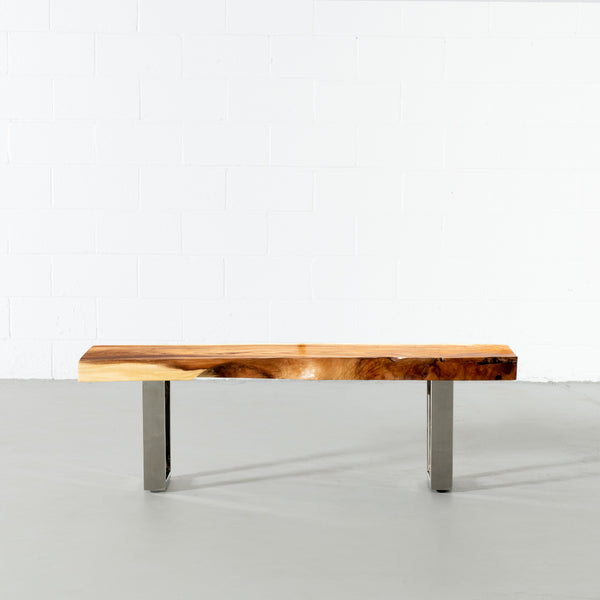 Suar Live Edge Wood Bench with Chrome U-shaped Legs/Natural - Wazo Furniture