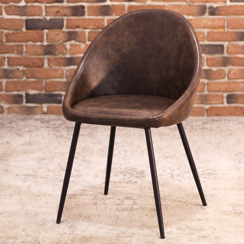 DEX Leather Dining Chair (Brown) - Wazo Furniture