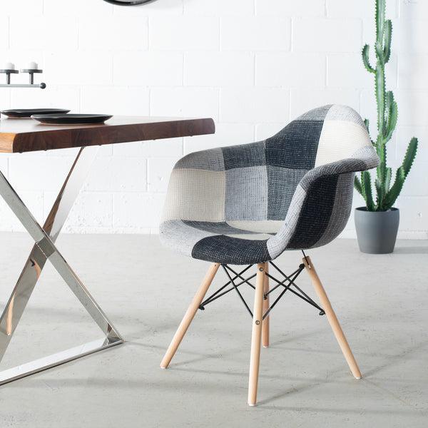 Eames Style Greyscale Square Patchwork Armchair