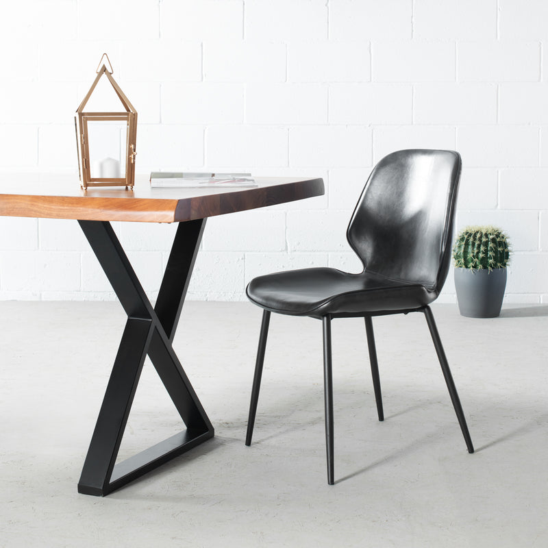 MONROE - Black Leather Dining Chair