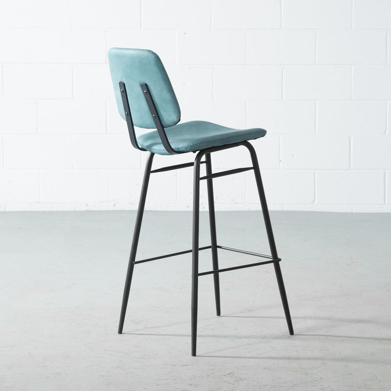 ELI - Blue Leather Bar Stool