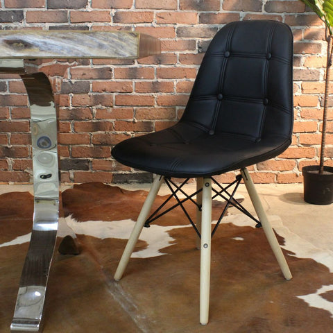 SYDNEY-Eames Style DSW Black PU Leather Button Chair