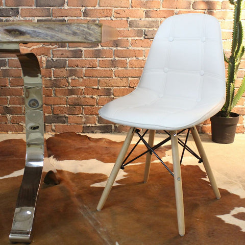 SYDNEY-Eames Style DSW White PU Leather Button Chair