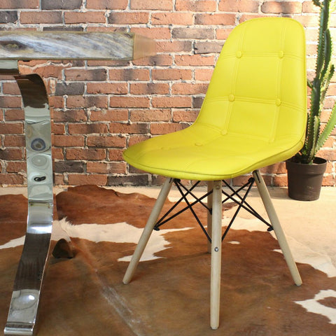 SYDNEY-Eames Style DSW Yellow PU Leather Button Chair