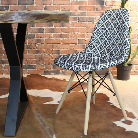 Eames Style Diamond Monochrome Patchwork Side Chair - Wazo Furniture