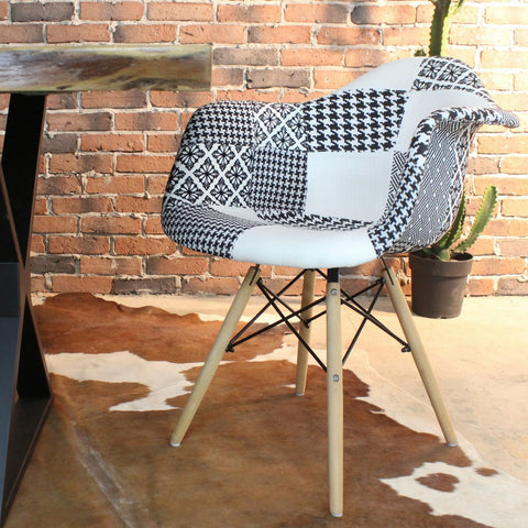 Eames Style Jessie Black and White Patchwork Armchair - Wazo Furniture