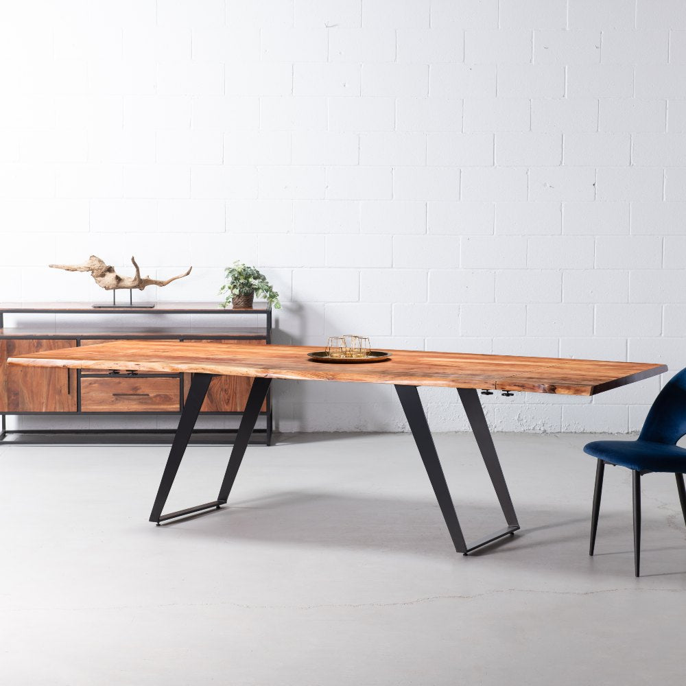 Colton Extendable Solid Acacia Wood Dining Table 200 Cm 280 Cm N Wazo Furniture