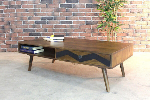 FRESNO - Mid Century Modern Rustic Solid Mango Wood Coffee Table - Wazo Furniture