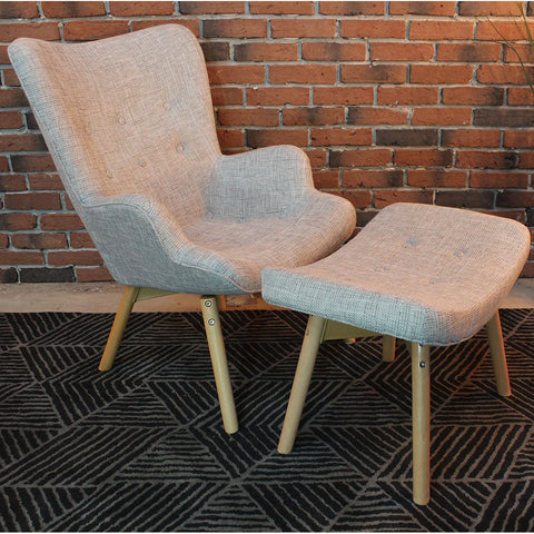 Featherston Style Contour Lounge Chair & Ottoman- Final sale - Wazo Furniture