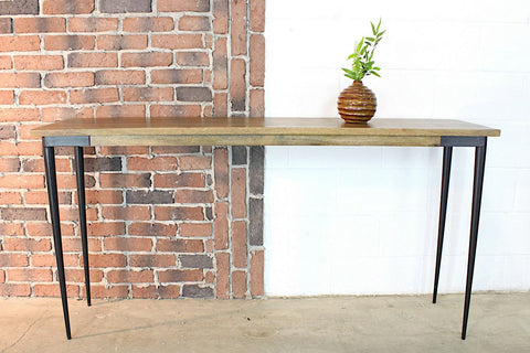 HOUSTON - Solid Mango Wood Console Table With Industrial Metal Legs - Wazo Furniture