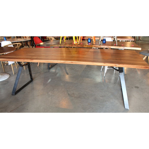 Acacia Natural Wood Straight Cut Table with Angled Flat Bar Legs