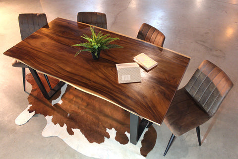 Sophia Live Edge Suar Table with U Shaped Legs