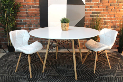 Eames Style Round White Dining Table with Eiffel Legs - Wazo Furniture