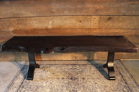 Acacia Live Edge Bench with Black Y Shaped Legs/Honey Walnut - Wazo Furniture