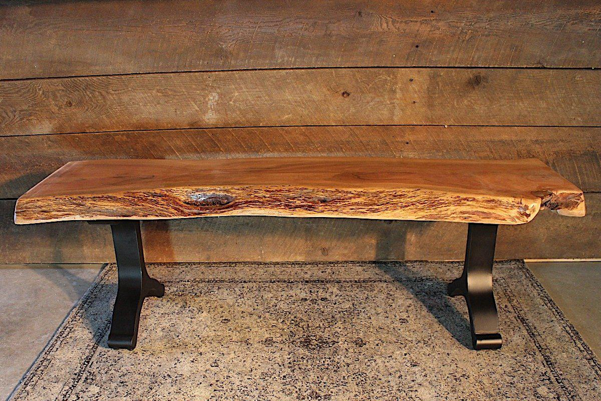 natural color furniture. Acacia Live Edge Bench With Black Y Shaped Legs/Natural Color - Wazo Furniture Natural
