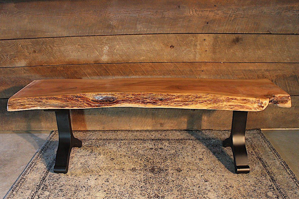 Acacia Live Edge Bench With Black Y Shaped Legs Natural Color Wazo