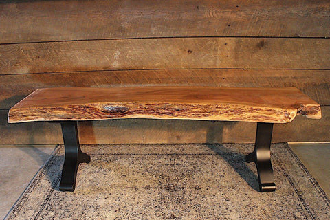 Acacia Live Edge Bench with Black Y Shaped Legs/Natural Color - Wazo Furniture