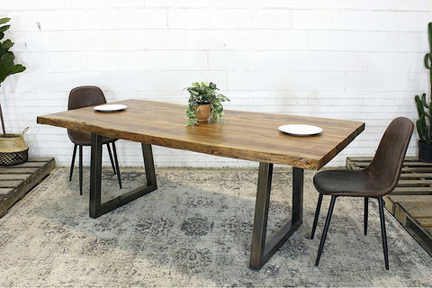 Live Edge Acacia Natural Wood Table with Brushed Trapezoid Legs/Natural - Wazo Furniture