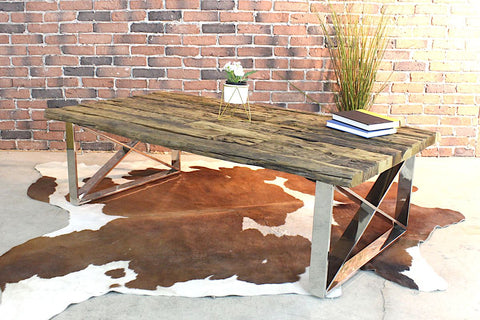 MADISON - Reclaimed Wooden Coffee Table With Industrial Metal Legs - Wazo Furniture